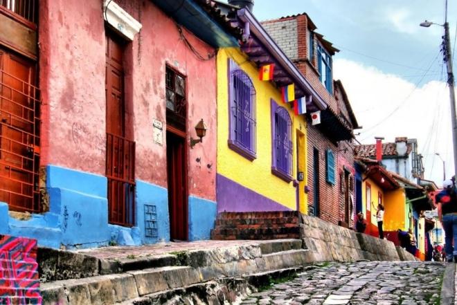 Bairro La Candelaria, famoso em Bogotá por seu valor histórico.